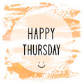 Happy Thursday Text On Orange Watercolor Background Stock Images - 79906334