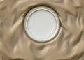 Empty Round Glazed Plate With Simple Shiny Frame On Folded Silk Cloth. Stock Photography - 79907142