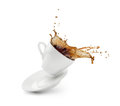 Coffee Splash From A Cup With Plate Royalty Free Stock Image - 79907516