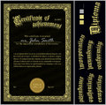 Vector Illustration Of Black And Gold Certificate. Royalty Free Stock Photos - 79908568