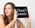 Don T Panic Written On Virtual Screen. Technology, Internet And Networking Concept. Beautiful Woman With Bare Shoulders Royalty Free Stock Images - 79917349