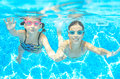 Children Swim In Pool Under Water, Happy Active Girls In Goggles Have Fun, Kids Sport Royalty Free Stock Photo - 79923545