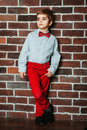 Cute Stylish Little Boy Staying Near The Brick Wall In Red Pants And Red Bow Tie. Kids, Boy Stock Photos - 79925563