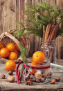 Christmas Gift With Nuts And Tangerines Royalty Free Stock Images - 79927039