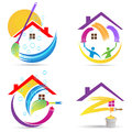Home Cleaning Service Logo House Renovation Painting Maintenance Improvement Vector Symbol Icon Design. Stock Photos - 79931883