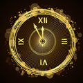 Happy New Year Background Gold Clock Royalty Free Stock Photo - 79934125