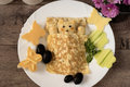 Creative Idea For Kids Snack, Breakfast Or Lunch. Sleeping Bear From Bulgur, Rice And Quinoa Under The Blanket Of Egg Omelet Stock Image - 79942711
