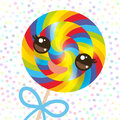 Kawaii Colorful Candy Lollipop With Bow, Spiral Candy Cane. Candy On Stick With Twisted Design With Pink Cheeks And Winking Eyes, Royalty Free Stock Photography - 79964457