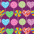 Colorful Seamless Pattern, Candy Lollipops, Spiral Candy Cane. Candy On Stick Royalty Free Stock Photo - 79964475