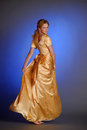 Girl In Yellow Evening Long Dress Royalty Free Stock Image - 79966776