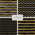 Seamless Pattern Golden And Silvern Lines, Wave, Zig Zag Stripe Stock Photo - 79970750