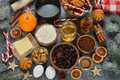 Ingredients To Bake Traditional Christmas Fruit Cake Stock Images - 79971654
