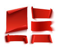 Set Of Five Red, Realistic, Paper Banners. Royalty Free Stock Image - 79974666