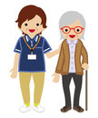 Mature Adult Females Caregiver Supporting Senior Women Royalty Free Stock Photography - 79974857