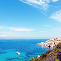 Sea View With Lonely Yacht In Sardinia Stock Image - 79977931