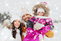 Happy Family With Child In Winter Clothes Outdoors Stock Image - 79979811