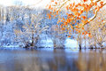 Winter Landscape With Trees And Forest Lake. Royalty Free Stock Image - 79981726