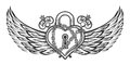 Heart Shaped Lock With Wings Stock Photo - 79997280