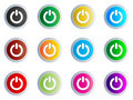 Power Web Button Different Colors Stock Image - 8000691