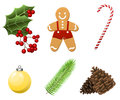 Cristmas Set With Traditional Realistic Cartoon Food And Things Royalty Free Stock Photography - 80018437