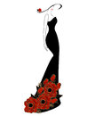 Woman In A Dress And Hat With Red Rose. Royalty Free Stock Image - 80018636