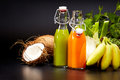 Glasses With Fresh Vegetable Juices Isolated On Black. Detox Stock Image - 80019241