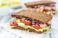 Fresh Made Tuna Sandwich With Wholemeal Bread (selective Focus) Royalty Free Stock Image - 80033226
