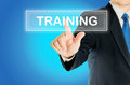 Business Man Is Pushing TRAINING Transparent Button Stock Photo - 80033920