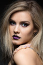 Beautiful Girl With Dark Purple Lips Royalty Free Stock Image - 80067386