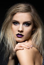 Beautiful Girl With Dark Purple Lips Royalty Free Stock Image - 80068136