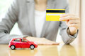 Real Estate Investment By Credit Card. Car On Table. Stock Images - 80081084