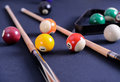 Blue Billiard Table With Balls And Cue. Royalty Free Stock Photography - 80097677