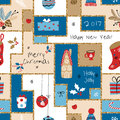 Christmas Seamless Pattern With Different Signs On Christmas And New Year Royalty Free Stock Photos - 80114638