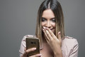 Beauty Reading Message On Mobile Phone And Laughing Stock Image - 80122061