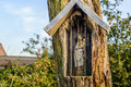 Holy Mary Statuette In A Niche Carved Out In An Old Tree Royalty Free Stock Images - 80123739