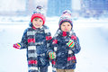 Happy Children Having Fun With Snow In Winter Royalty Free Stock Photography - 80132877