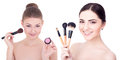 Two Young Beautiful Women With Make Up Brushes And Rouge Or Powd Stock Photography - 80136752