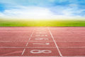 Start Running Track In Stadium Or Sport Park. Royalty Free Stock Photo - 80144655