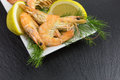 Boiled Shrimps On Slate Stock Photo - 80151440