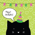 Happy Birthday Card With Cute Cat Character. Greeting Card. Desi Stock Photo - 80154360