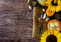 Seasonal Wooden Table Setting With Small Pumpkins Royalty Free Stock Images - 80167049