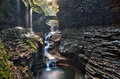 Stone Bridge Over Rainbow Falls In Watkins Glen State Park Royalty Free Stock Photos - 80168578