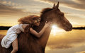 Pretty Lady Riding A Horse By Gallop Stock Image - 80169721