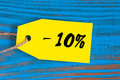 Sale Minus 10 Percent. Big Sales Ten Percents On Blue Wooden Background For Flyer, Poster, Shopping, Sign, Discount Royalty Free Stock Photography - 80170607