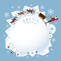 People With Arctic Dogs Sledding, Round Frame Stock Photos - 80177433