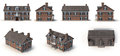 Red Brick Colonial Architecture Style Renders Set From Different Angles On A White. 3D Illustration Stock Photo - 80185100