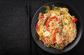Asian Salad With Rice Noodles, Beef And Vegetables. Stock Image - 80187801