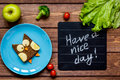 Kids Breakfast Owl Shaped Sandwich Have A Nice Day Royalty Free Stock Photography - 80193067
