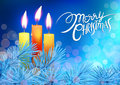Lettering And Glowing Xmas Candles With Melted Wax, Christmas Tree On Blue Bokeh Background. Stock Photos - 80200833