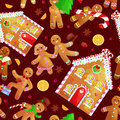 Seamless Pattern Christmas Cookies Gingerbread Man And Girl  Stock Images - 80204184